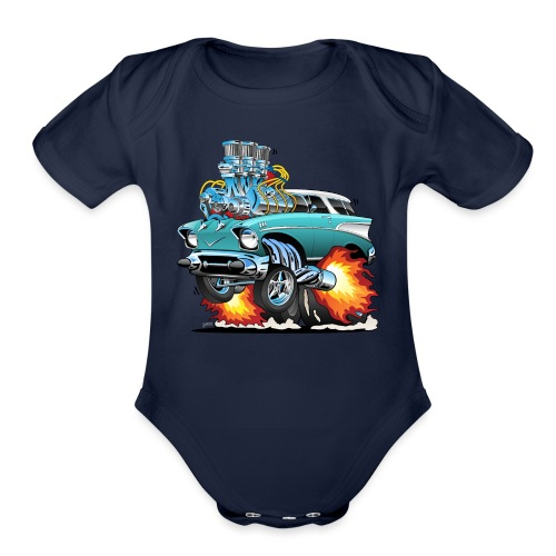 Classic Fifties Hot Rod Muscle Car Cartoon - Organic Short Sleeve Baby Bodysuit