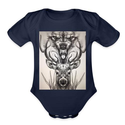 Black Ink Deer And Wolf Head - Organic Short Sleeve Baby Bodysuit