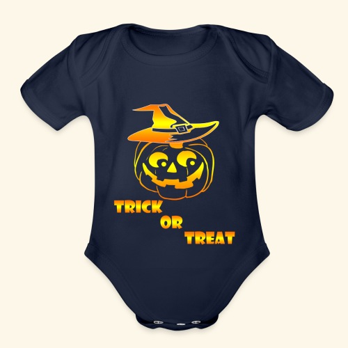 Halloween Trick or treat - Organic Short Sleeve Baby Bodysuit