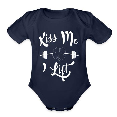 Kiss me, I lift! - Organic Short Sleeve Baby Bodysuit