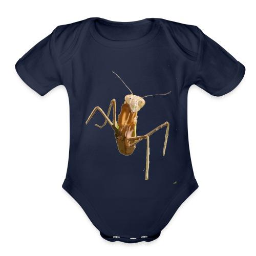 praying mantis - Organic Short Sleeve Baby Bodysuit