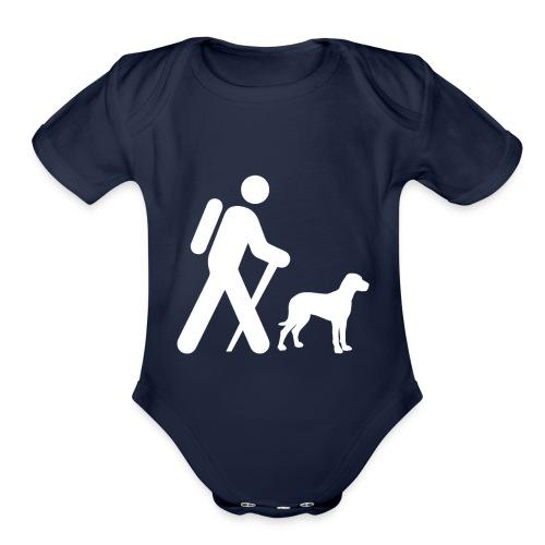 Hiking Man & Dog - Organic Short Sleeve Baby Bodysuit