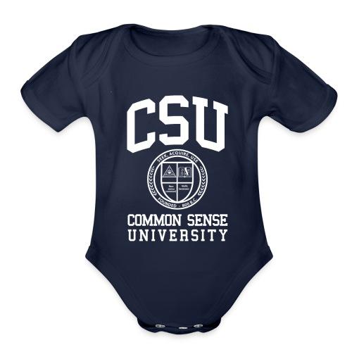 Common Sense Black T-Shirts - Organic Short Sleeve Baby Bodysuit