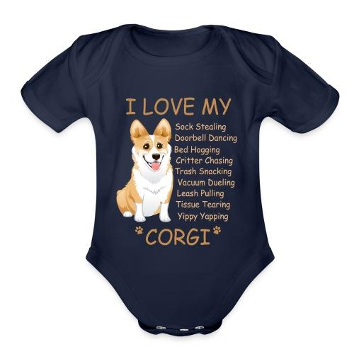 I Love My Corgi - Organic Short Sleeve Baby Bodysuit