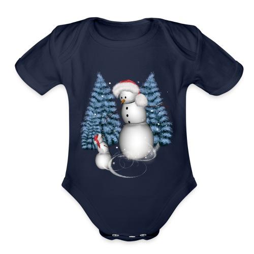 Funny snowman with snow kid - Organic Short Sleeve Baby Bodysuit