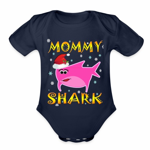 Mommy Shark Christmas Design Gift Idea - Organic Short Sleeve Baby Bodysuit