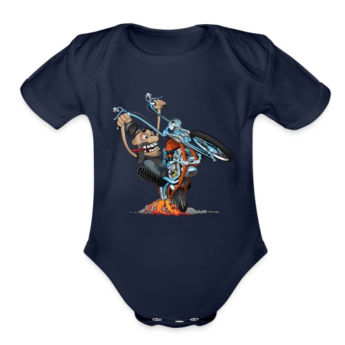 Funny biker riding a chopper cartoon - Organic Short Sleeve Baby Bodysuit