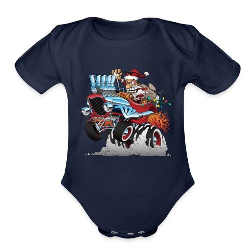 Hot Rod Santa Christmas Cartoon - Organic Short Sleeve Baby Bodysuit
