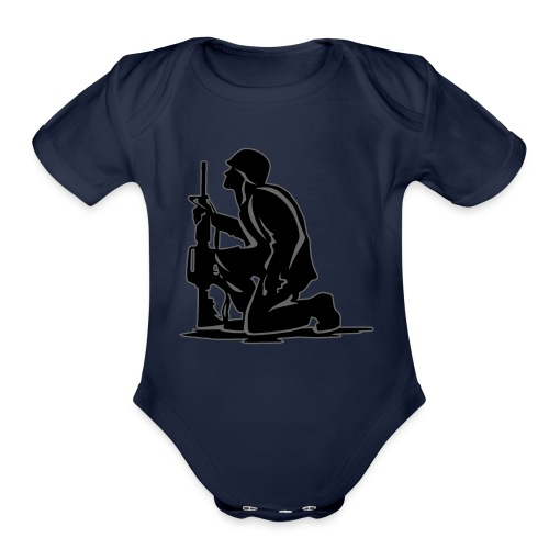 Military Serviceman Kneeling Warrior Tribute Illus - Organic Short Sleeve Baby Bodysuit