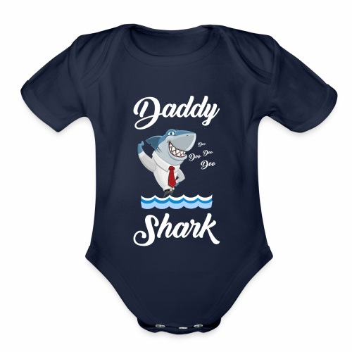 Daddy Shark on the waves Christmas Gift - Organic Short Sleeve Baby Bodysuit