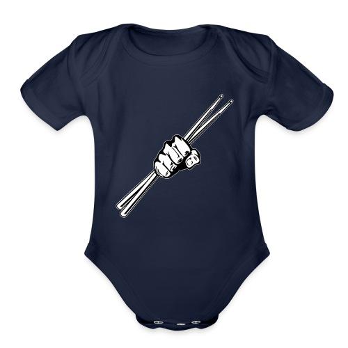 Drum Sticks Fist Punch - Organic Short Sleeve Baby Bodysuit