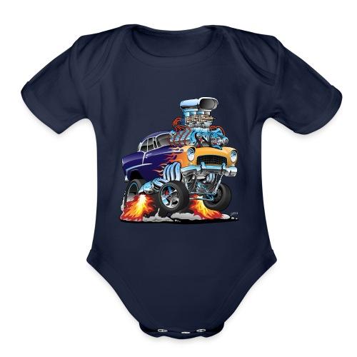 Classic Fifties Hot Rod Muscle Car Cartoon - Organic Short Sleeve Baby Bodysuit
