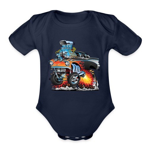 Classic hot rod 57 gasser dragster car cartoon - Organic Short Sleeve Baby Bodysuit