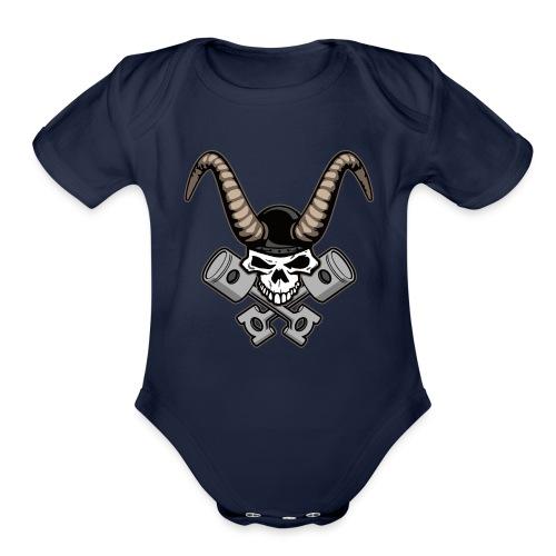 Skull with horns and crossed pistons illustration - Organic Short Sleeve Baby Bodysuit