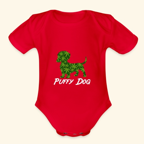 PUFFY DOG - PRESENT FOR SMOKING DOGLOVER - Organic Short Sleeve Baby Bodysuit