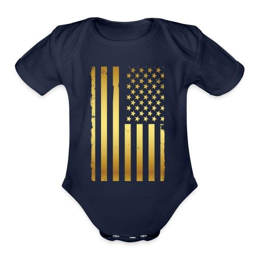 Golden american flag - Organic Short Sleeve Baby Bodysuit