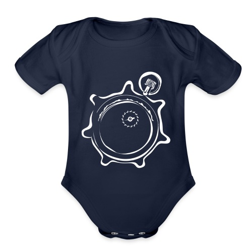 Athlete Engineers Stopwatch - White - Organic Short Sleeve Baby Bodysuit