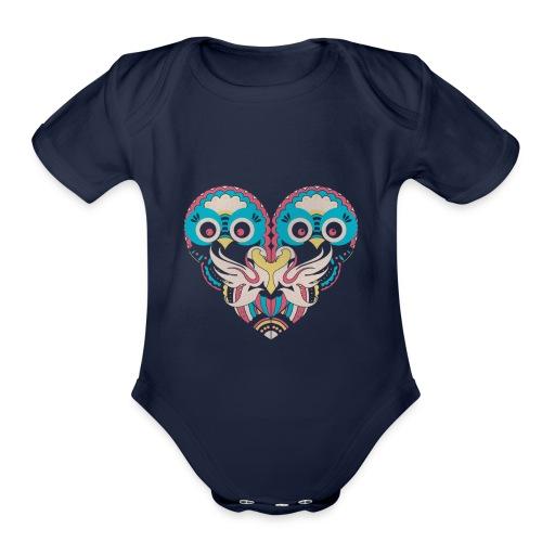 hearts of owls - Organic Short Sleeve Baby Bodysuit
