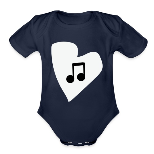 musical feeling WHITE - Organic Short Sleeve Baby Bodysuit