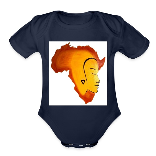 africa face - Organic Short Sleeve Baby Bodysuit