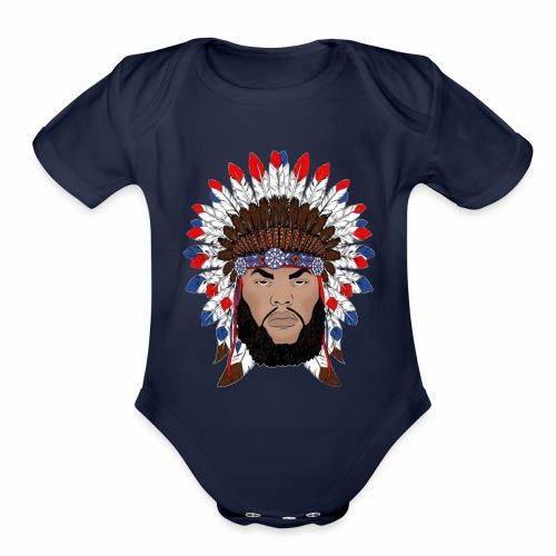 Dane Calloway American Indian Logo - Organic Short Sleeve Baby Bodysuit
