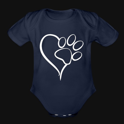 Paw print on my Heart - Organic Short Sleeve Baby Bodysuit