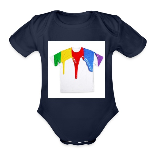 tshirt printing for kids paint design 100683 - Organic Short Sleeve Baby Bodysuit
