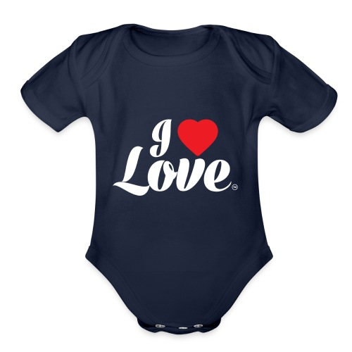 I Love Love - Organic Short Sleeve Baby Bodysuit
