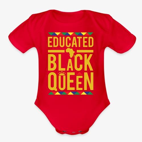 Educated Black Queen - Organic Short Sleeve Baby Bodysuit