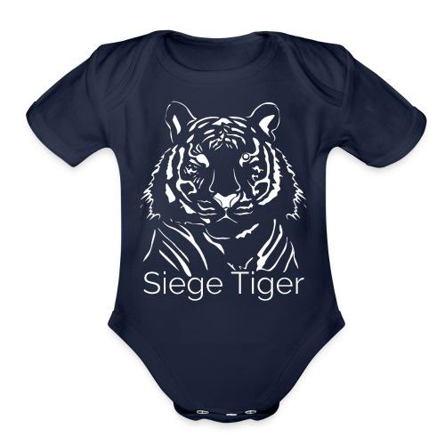 Siege Tiger White - Organic Short Sleeve Baby Bodysuit