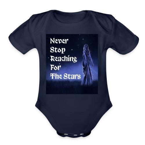 Never stop reaching for the stars - Organic Short Sleeve Baby Bodysuit