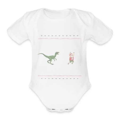Ugly Christmas Sweater Running Dino and Santa - Organic Short Sleeve Baby Bodysuit