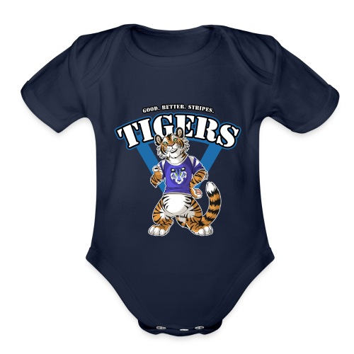 Team TIGERS Blue - Organic Short Sleeve Baby Bodysuit