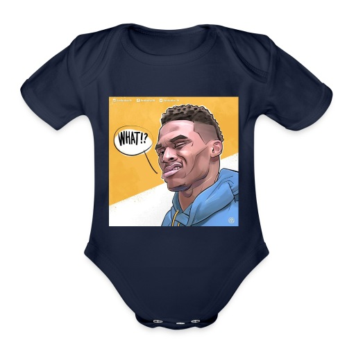 russel westbrook what? - Organic Short Sleeve Baby Bodysuit