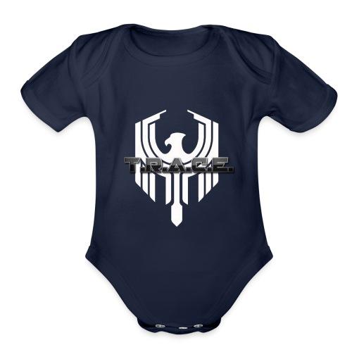 White T.R.A.C.E. Emblem - Organic Short Sleeve Baby Bodysuit