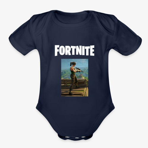 fortnite sniper tee - Organic Short Sleeve Baby Bodysuit