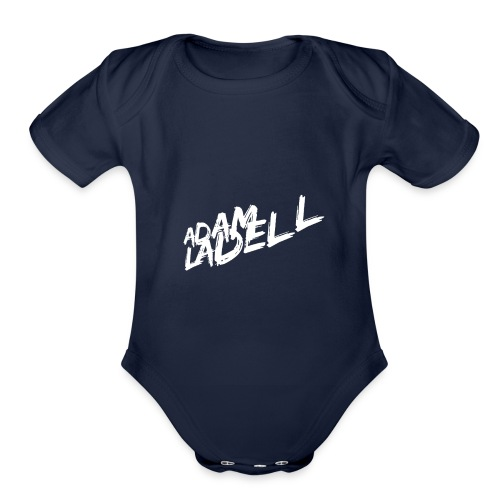 Adam Ladell Logo White - Organic Short Sleeve Baby Bodysuit