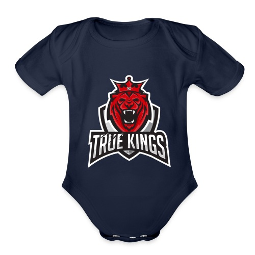 True Kings Logo 1 - Organic Short Sleeve Baby Bodysuit