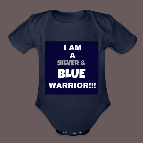 Silver Blue warrior - Organic Short Sleeve Baby Bodysuit