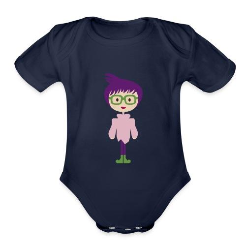 Funky Girl, Purple Hair + Big Eyeglasses w/ Boots - Organic Short Sleeve Baby Bodysuit