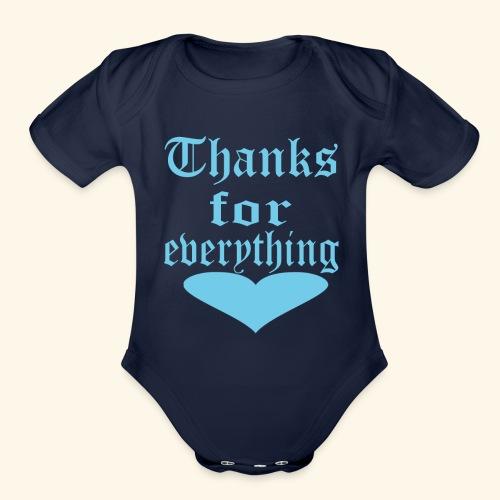 Thanks for everyting Blue heart - Organic Short Sleeve Baby Bodysuit