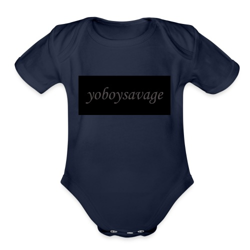 yoboysavagelogo - Organic Short Sleeve Baby Bodysuit