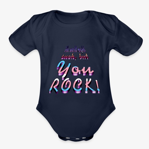 you rock - Organic Short Sleeve Baby Bodysuit