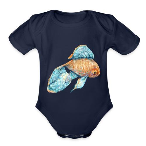 Blue Goldfish - Organic Short Sleeve Baby Bodysuit