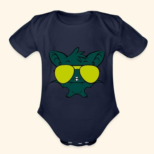 hip hop bats - Organic Short Sleeve Baby Bodysuit