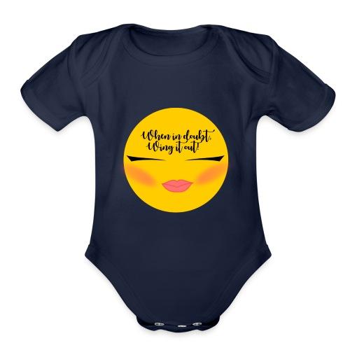 Winged Eyeliner emojii - Organic Short Sleeve Baby Bodysuit