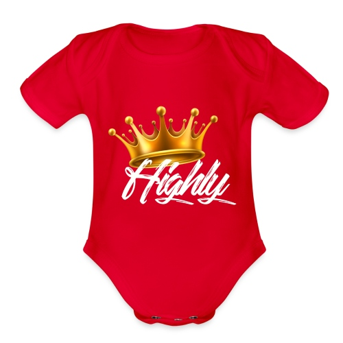 Highly Crown Print - Organic Short Sleeve Baby Bodysuit