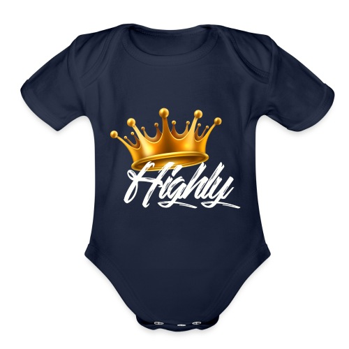 Highly Crown Print - Organic Short Sleeve Baby Bodysuit