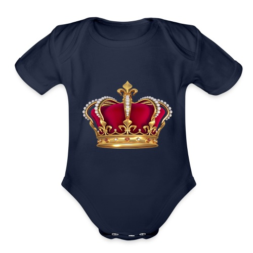 RED GOLD CROWN - Organic Short Sleeve Baby Bodysuit