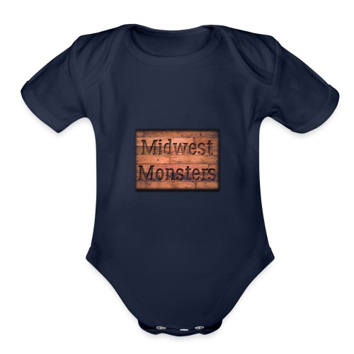 Midwest Monsters Wood Logo - Organic Short Sleeve Baby Bodysuit